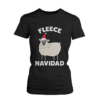 Fleece Navidad Christmas Graphic Tee- Black Holiday Cotton T-Shirt