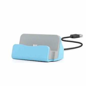 Cradle sync charger dock charging stand for micro USB smartphones blue