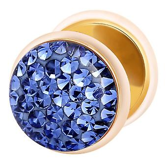 Fake Cheater Ear Plug Gold Plated, Earring, Body Jewellery, with Multi Crystal Sapphire Blue