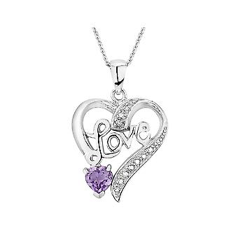 Amethyst Love Heart Pendant with Diamond Accent in Sterling Silver with Chain