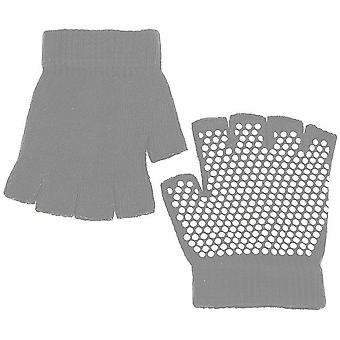 TRIXES Yoga Gloves Grey Fingerless Gloves with Grip Exercise