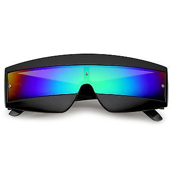 Occhiali da sole scudo Mono lente specchio futuristico ampio tempio colorato 68mm