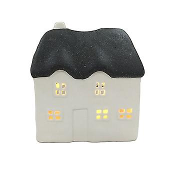 Light-Glow Thatched House Candle Holder, Black