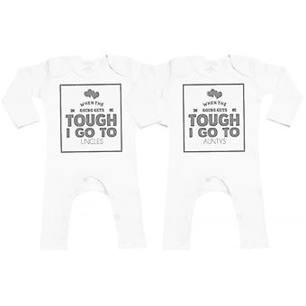 Spoilt Rotten When Tough Go Auntys/Uncles Baby Footless Romper Twins Set