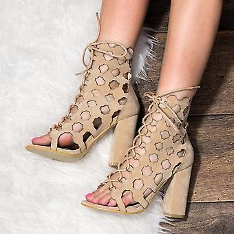 Spylovebuy CHILL Lace Up Block Heel Wedding Bridal Shoes - Nude Suede Style