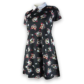 Liquor Brand - CATS - Women's Comfy Dress With Peter Pan Collar, Black