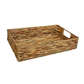 Small Water Hyacinth Shallow Rectangular Storage Basket