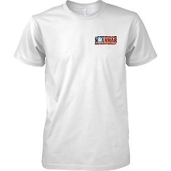 Efeito de bandeira nome Myanmar Grunge Country - crianças peito Design t-shirt
