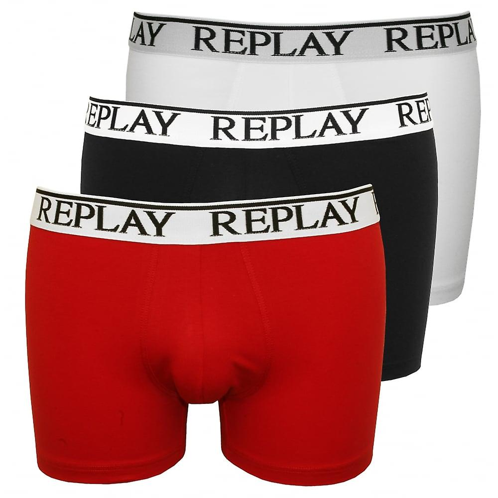 Replay 3-Pack Classic Logo Boxer Trunks, Black/White/Red