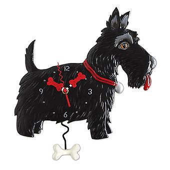 Allen Designs Black Scottie Dog Pendulum Wall Clock