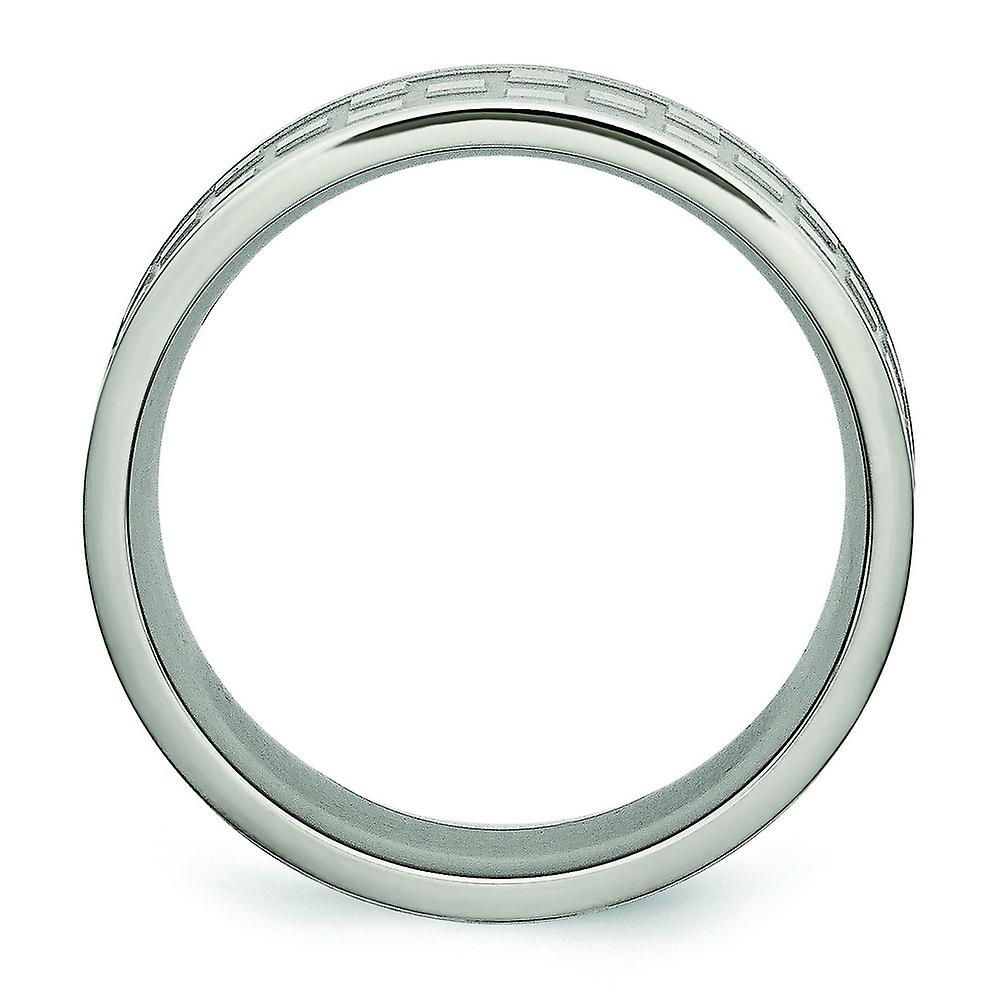 Titanium 8mm Satin and Polished Checkered Band Ring - Ring Size: 8 to 14
