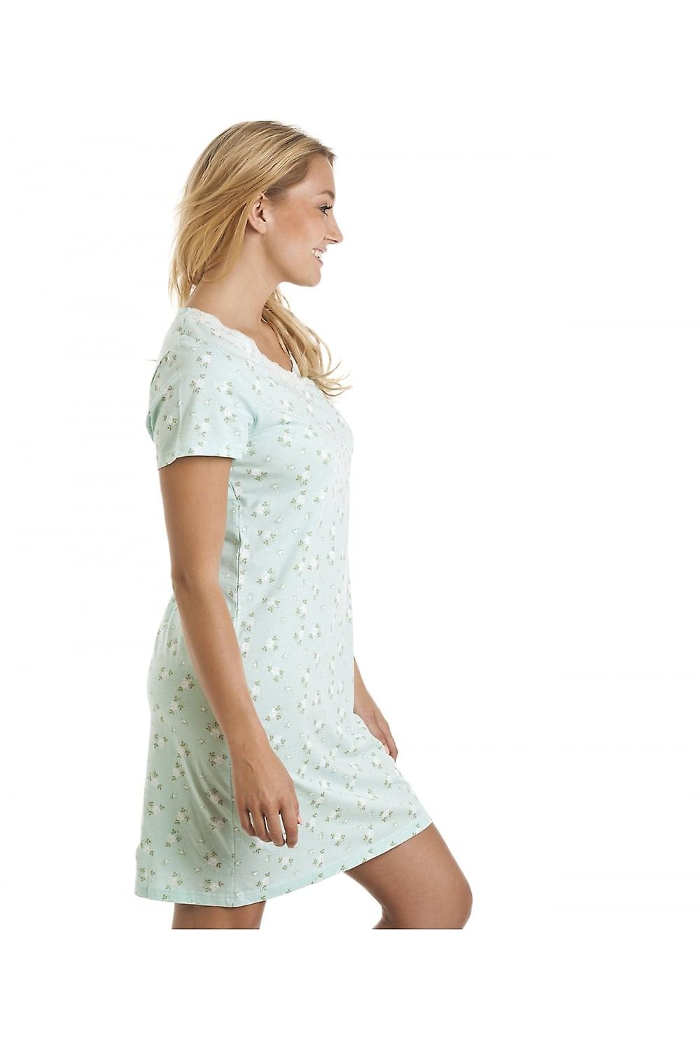 Camille Aqua Blue And White Floral Print Nightdress