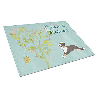 Welcome Friends Bernese Mountain Dog Glass Cutting Board Large
