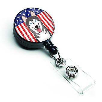 American Flag and Alaskan Malamute Retractable Badge Reel