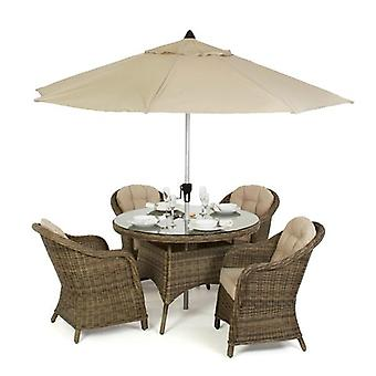 Maze Rattan Winchester 4 Seat Rounded Armchair Set