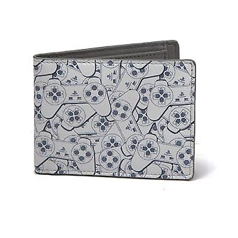 Playstation Wallet PS1 Controller all over print Official New Grey Bifold