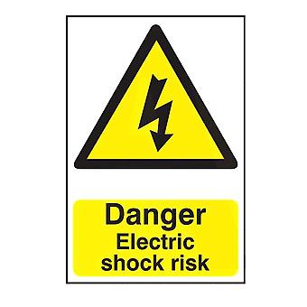 ASEC `Danger Electric Shock Risk` 200mm X 300mm PVC Self Adhesive Sign