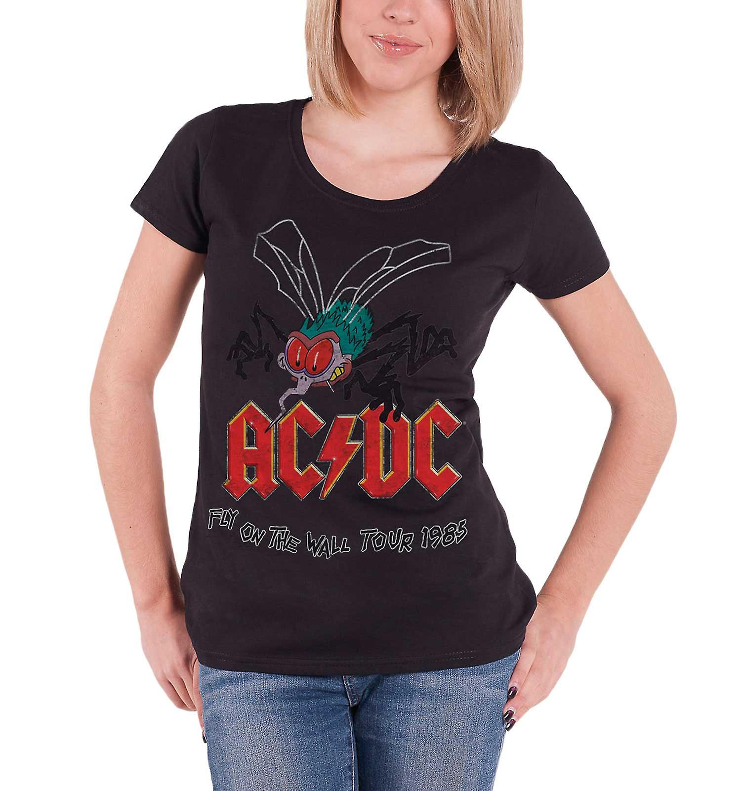 AC/DC T Shirt Fly On The Wall Tour 1985 new Official Womens Skinny Fit Black
