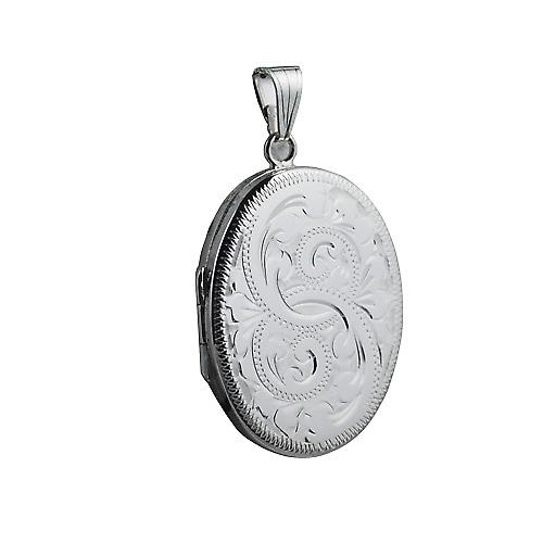 Silver 35x26mm hand engraved flat oval Locket
