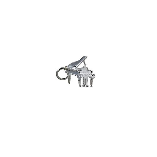 Silver 13x12mm open Grand piano pendant or charm
