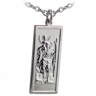 Silver 35x15mm rectangular St Christopher Pendant with a cable Chain 24 inches