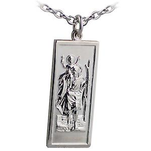 Silver 35x15mm rectangular St Christopher Pendant with a cable Chain 18 inches