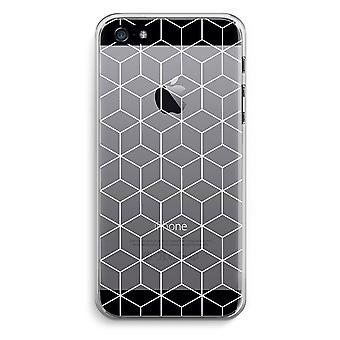 iPhone 5 / 5S / SE Transparent Case (Soft) - Cubes black and white