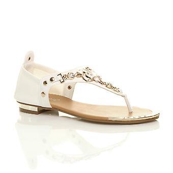 Ajvani dame flad strækning guld trim rose blomst diamante tå indlæg t-bar sandaler