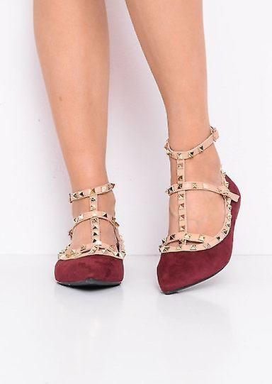 Infradito con borchie punta in camoscio sintetico ballerine rosso Borgogna