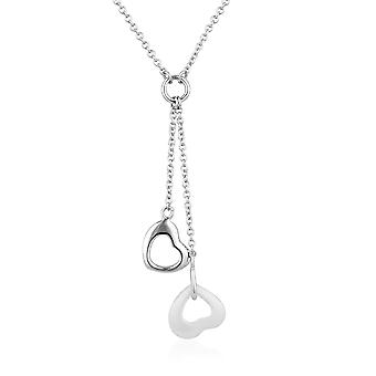 White ceramic hearts necklace and Silver 925