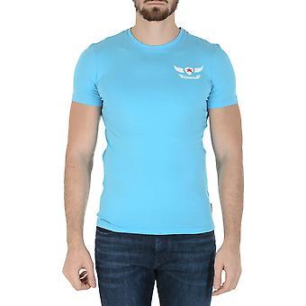 Andrew Charles Mens T-shirt Short Sleeves Round Neck Light Blue Keita