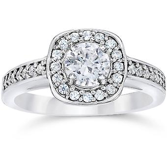 1ct kussen Halo Diamond Engagement Ring 14K White Gold