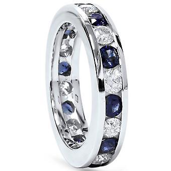 2ct Blue Sapphire & Diamond Channel Set Eternity Ring 14K White Gold