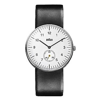 Braun Men's Three Hand Quartz Movement Watch with Analogue Display and Leather Strap