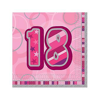 Verjaardag Glitz roze - 18e verjaardag - lunch servetten