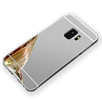 Mirror / Mirror aluminium bumper 2 pieces with cover silver for Samsung Galaxy S9 G960F bag cover