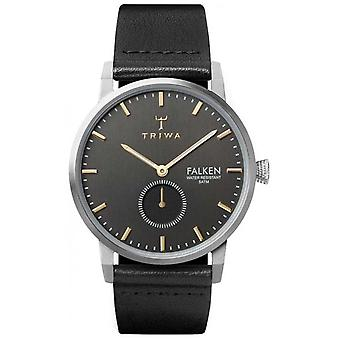 Triwa Smoky Falken Grey Dial Stainless Steel Case Leather Strap FAST119-CL010112 Watch