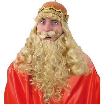 Peluca de Ludwig con corona real noble medieval