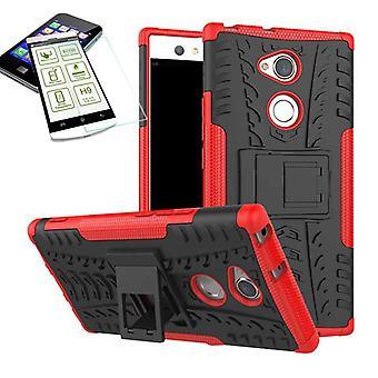 Hybrid tilfelle 2 stykke rødt for Sony Xperia XA2 ultra pose case + herdet glass nye