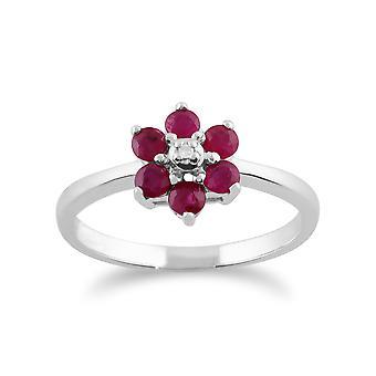 9ct oro bianco diamanti 0.59ct rubino naturale & diamante anello floreale