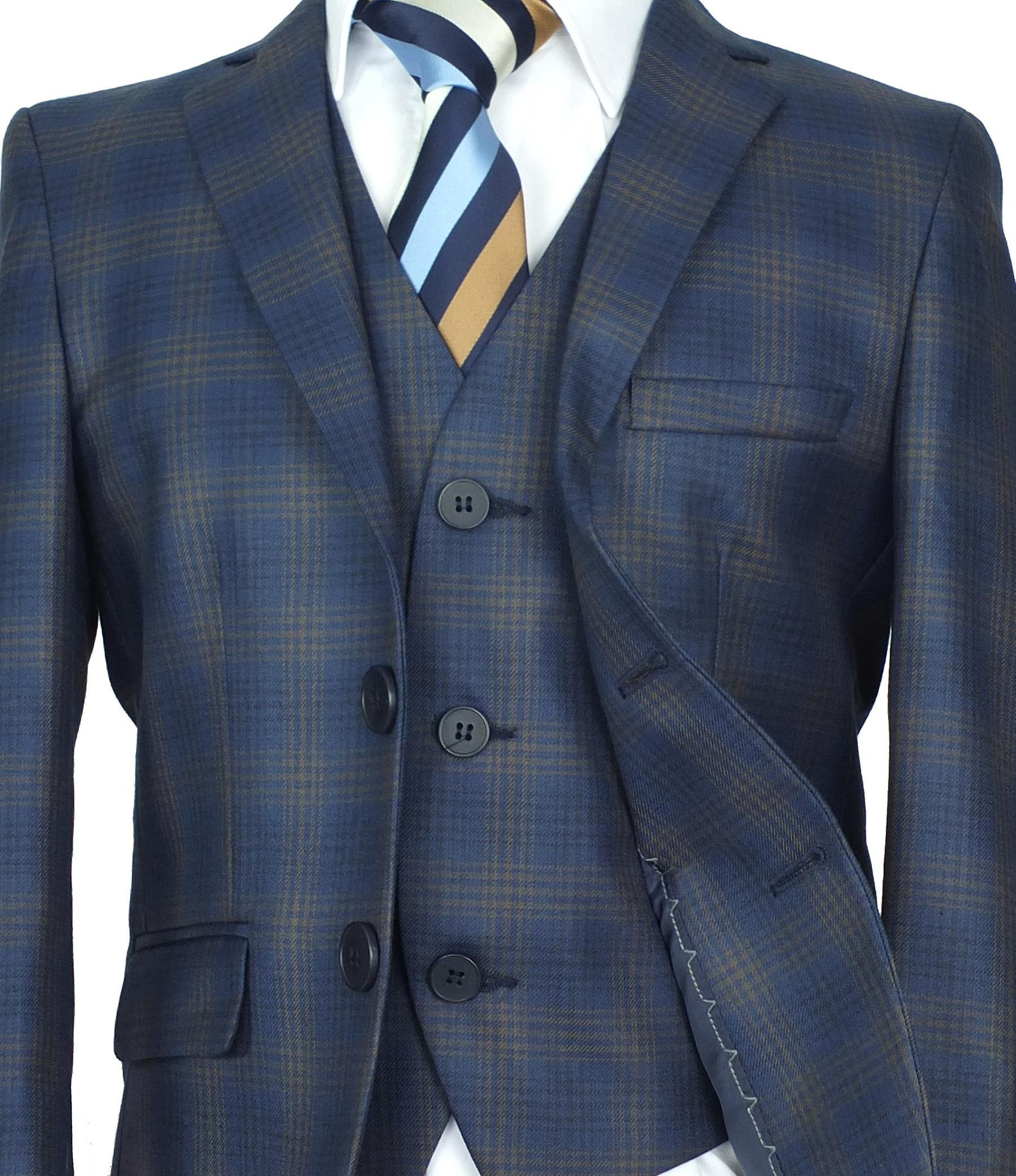 Boys Checkered Blue Gold Suit 3 Piece or 5 Piece