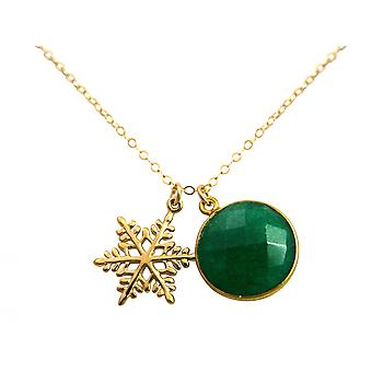 Gemshine - ladies - necklace - pendants - snowflake - 925 silver plated - emerald - green - 45 cm