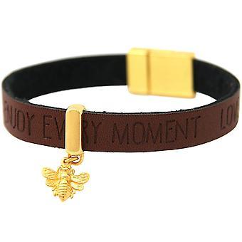 Gemshine Armband BEE Biene Silber Vergoldet WISHES Braun Magnetverschluss