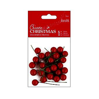 24 Red Holly Berries for Christmas Crafts