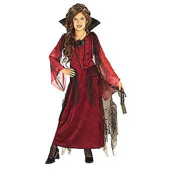 Готический Вампиресса вампир платье костюм Дракулы с встать воротник для детей