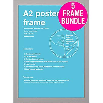 GB Posters 5 Silver A2 MDF Poster Frames 42 x 59.4cm Bundle