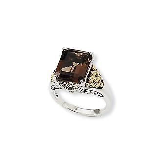 Final de plata antiguo con 14k 4.00Smokey anillo de cuarzo - Tamaño del anillo: 6 a 8