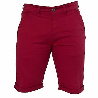 Mens Red Slim Fit Stretch Chino Shorts | Enzo Designer Menswear