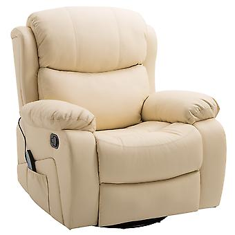 HOMCOM Massage Sofa Chair Heating Recliner PU Leather Armchair Relaxing Living Room Furniture With Footrest Remote Beige