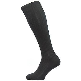 Pantherella Kangley Rib Over the Calf Merino Wool Socks - Black